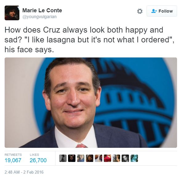 How does Ted Cruz always look both happy and sad?