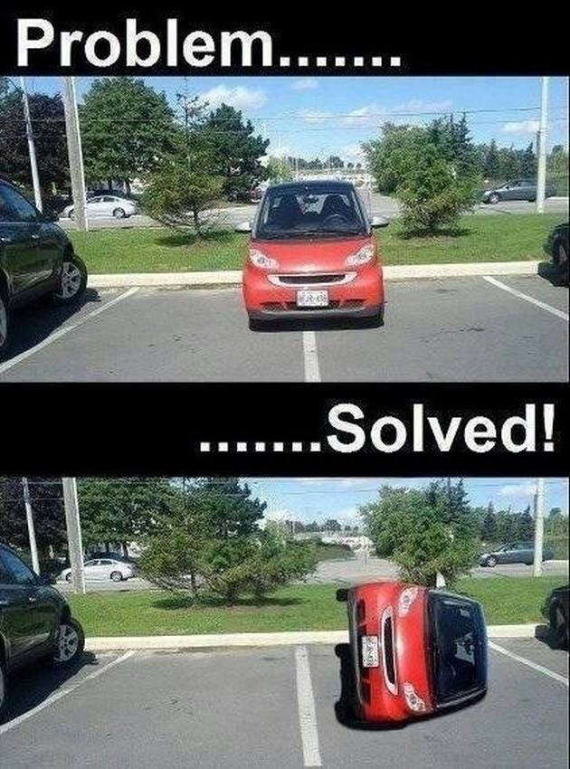 How to deal with an inconsiderate jerk in a Smart car who takes up two parking spots.