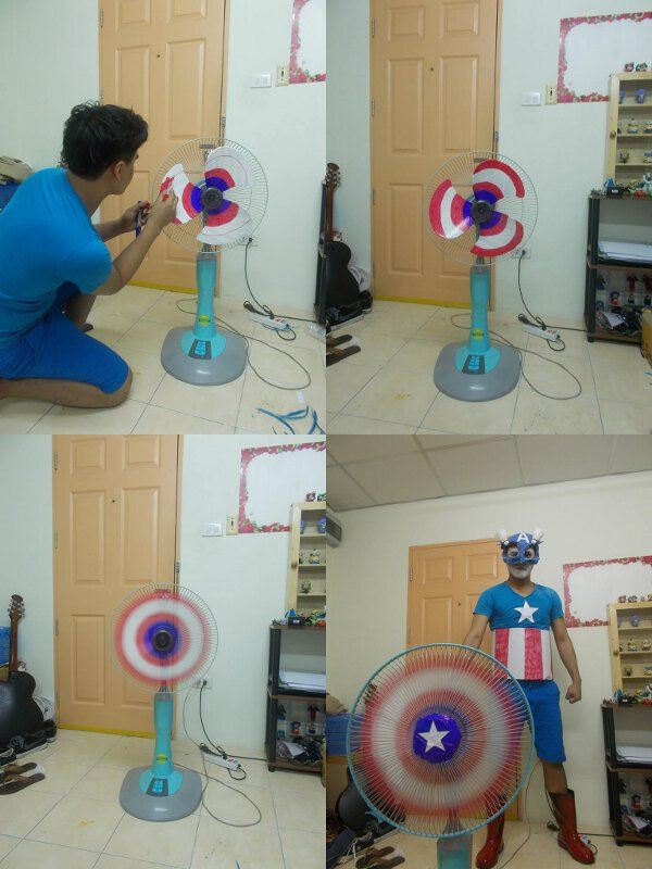 How to decorate your fan to turn it into a Captain America shield to finish off your costume.