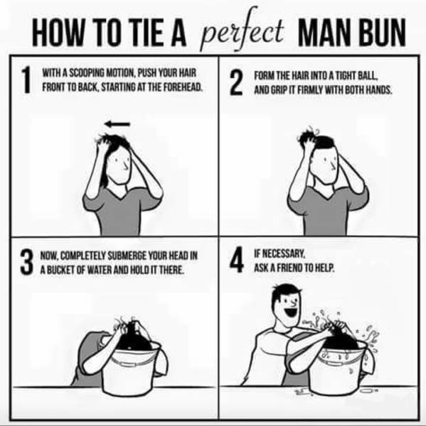 How to tie a perfect man bun.
