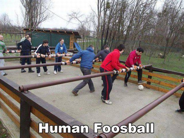 Human Foosball looks like it would be fun.
