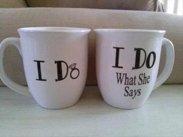 Good Wedding Gift Ideas For Older Couples : Matching I Do coffee cups for happily married couples. - RealFunny
