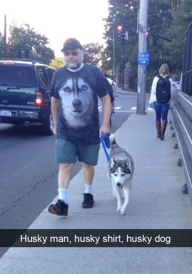 Husky man, husky shirt, husky dog.