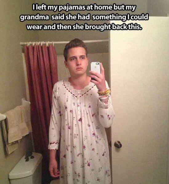 I left my pajamas at home but grandma said she had something I could wear.