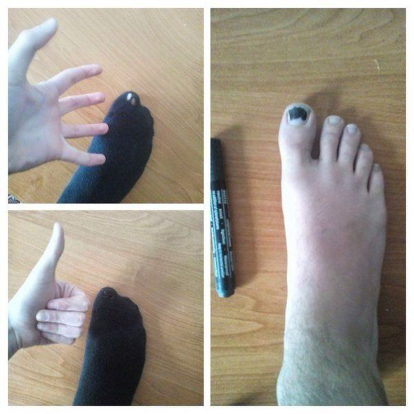 If you have a hole in your black sock here is a simple solution.