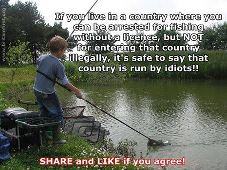 Arrested for fishing without a license but not for entering illegally. What a country!