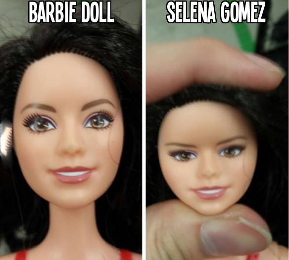 If you squeeze the head of a Barbie Doll, it looks like Selena Gomez.