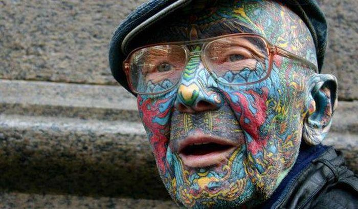 If you've ever wondered what someone with face tattoos would look like when they're old.
