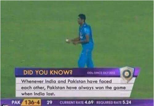 In-game stats for this match between Pakistan and India brought to you by Herp Derpler.