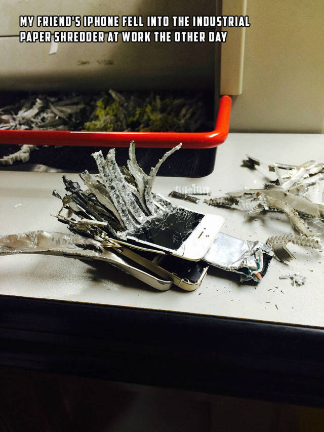iPhone fell into an Industrial paper shredder and this is the result.