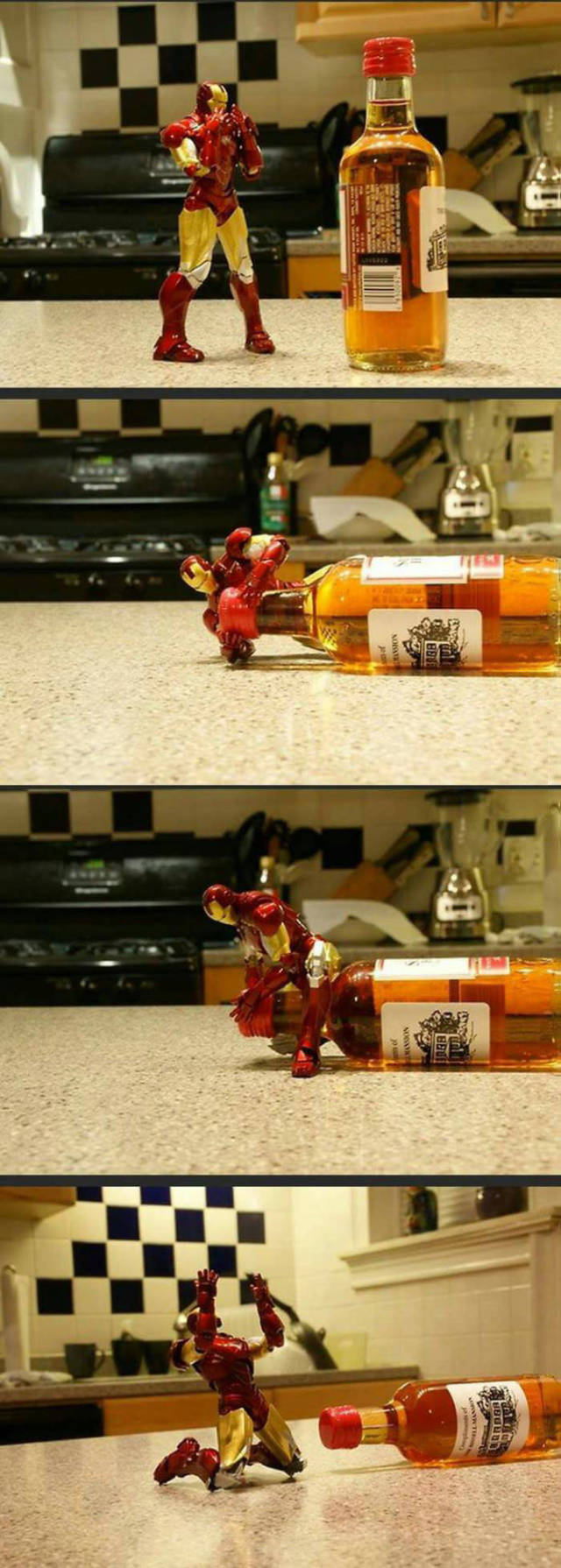 Iron Man has a very serious problem with alcohol.