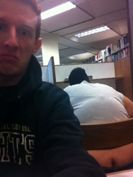 It Is Hard To Get Any Work Done At The Library When There Is A Ginormous Butt Crack Staring At You