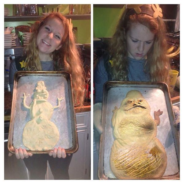 This woman decided to bake a cute snowman but what came out resembled Jabba the Hut from Star Wars.
