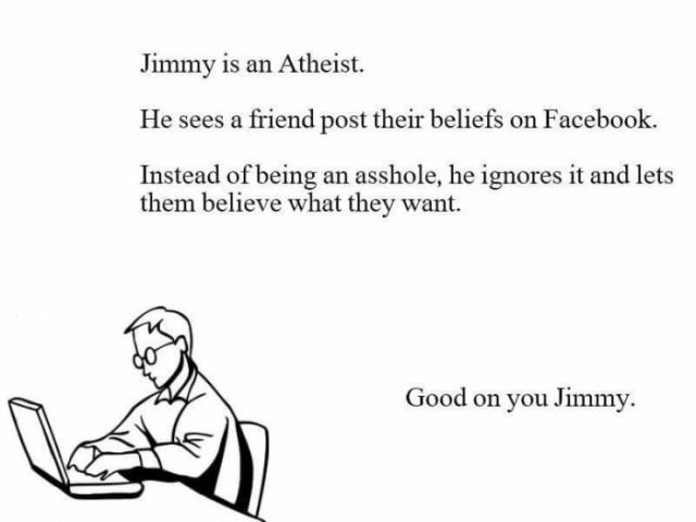 Jimmy is an atheist.