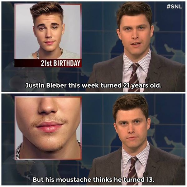 Justin Bieber's mustache has a lot of growing up to do.