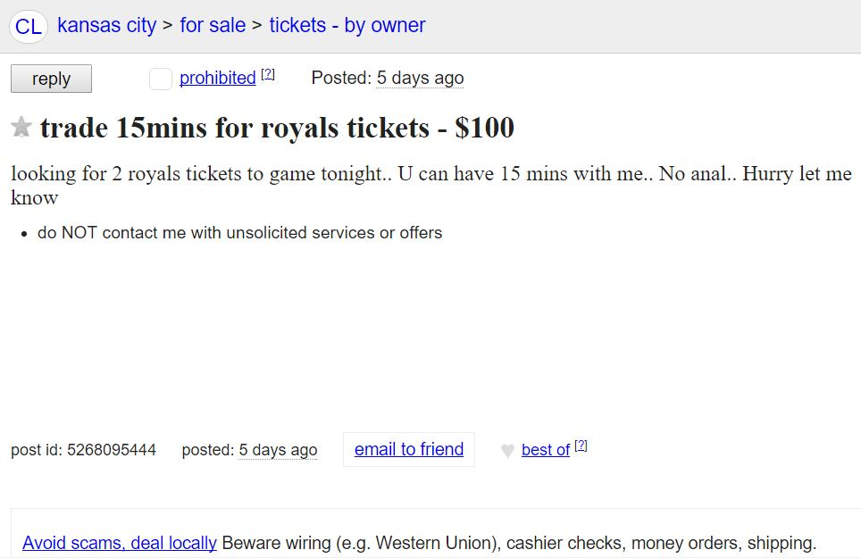 Kansas City Royals fan is willing to do anything for tickets....except anal.