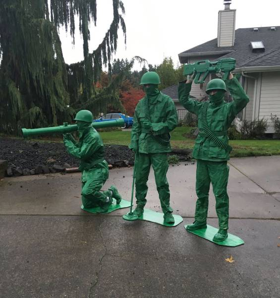 Little green toy army men in real life.