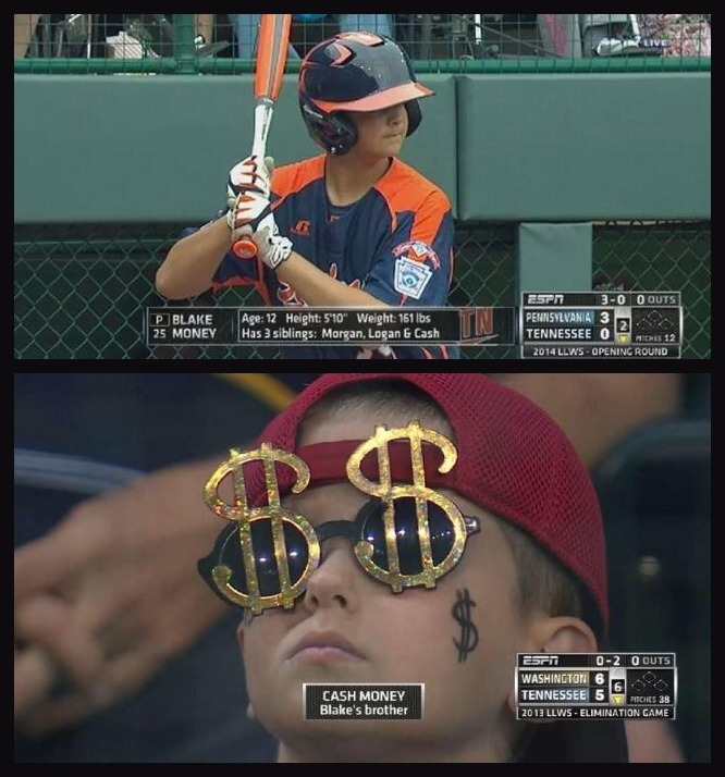 Little League World Series Player Blake Money Has A Little Brother Named Cash Money. Best Parents Ever!