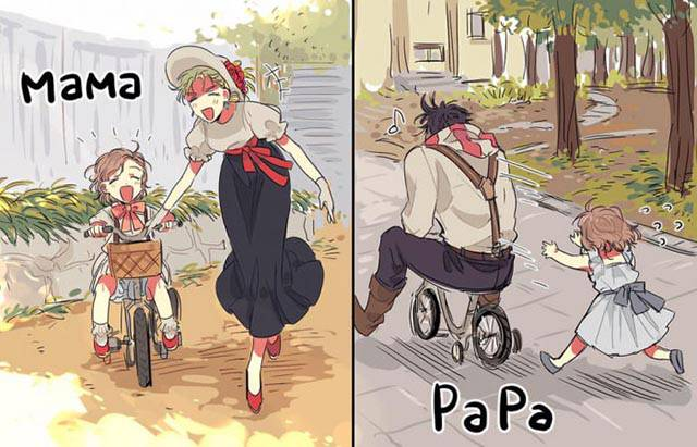 Mama vs. Papa: Teaching your kid how to ride a bike.