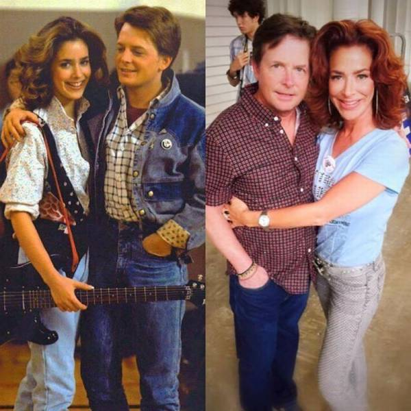 Marty McFly and his girlfriend Jennifer from the original Back to the Future movie then and now.
