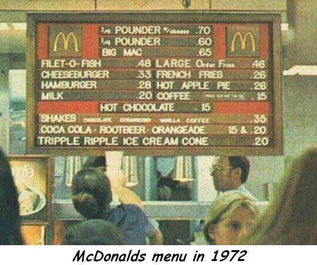 McDonald's menu from 1972. Thanks inflation.