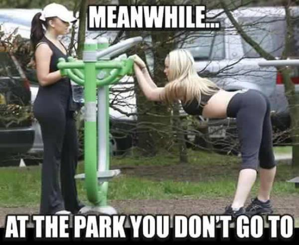 Meanwhile. at the park you don't go to.