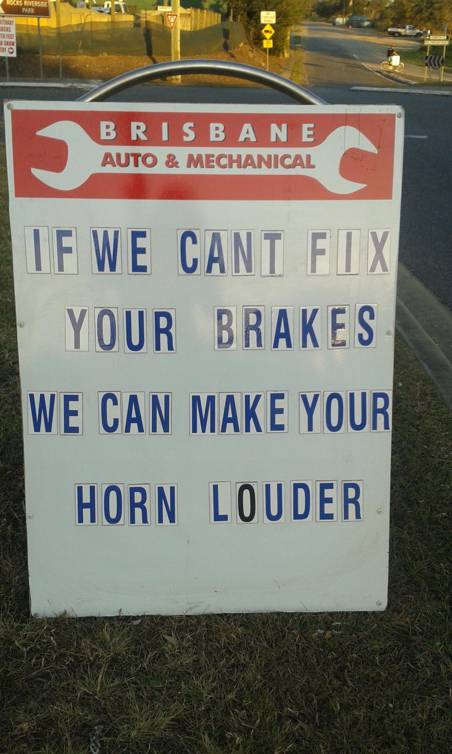 Mechanic has a solution if he can't fix your brakes.