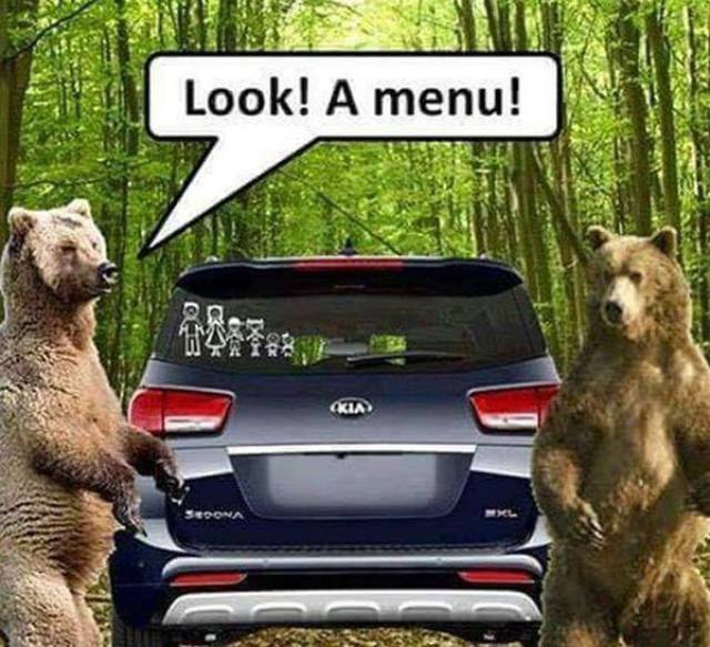 Menu for bears.