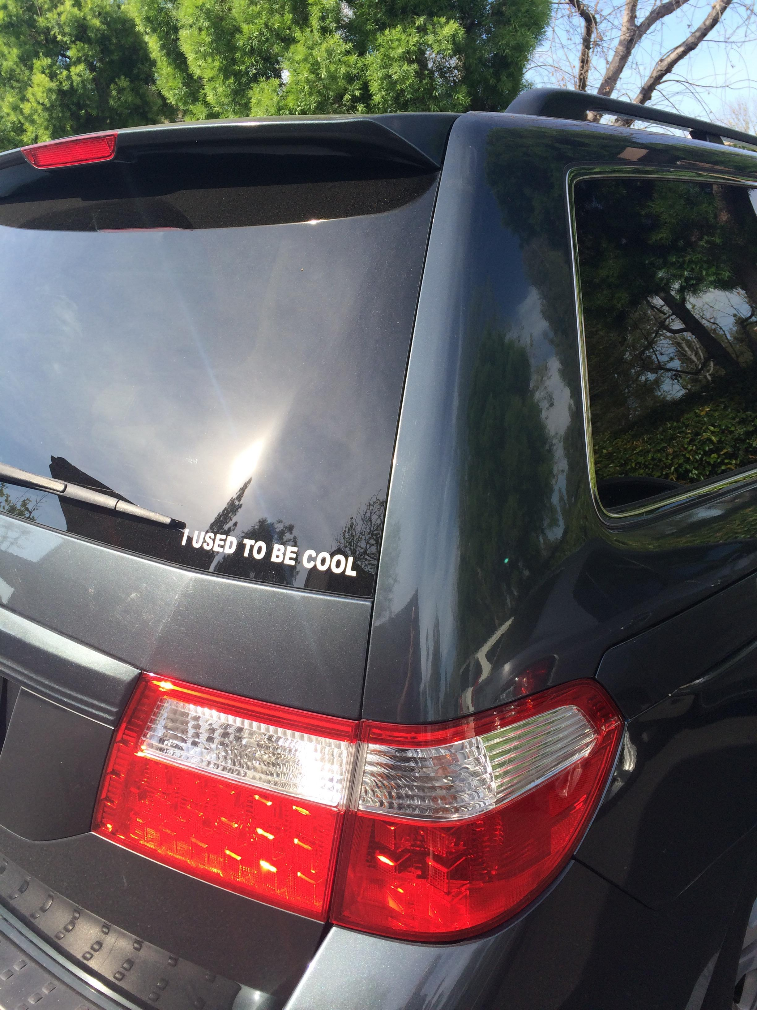 Minivan driver wants everyone to know they used to be cool.