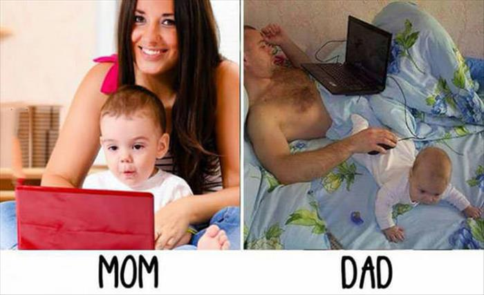 Mom vs. Dad: Playing with the baby while using the computer.