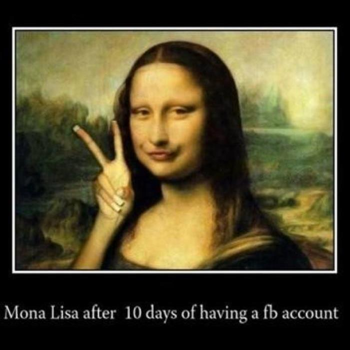 Mona Lisa after having a Facebook account for 10 days.
