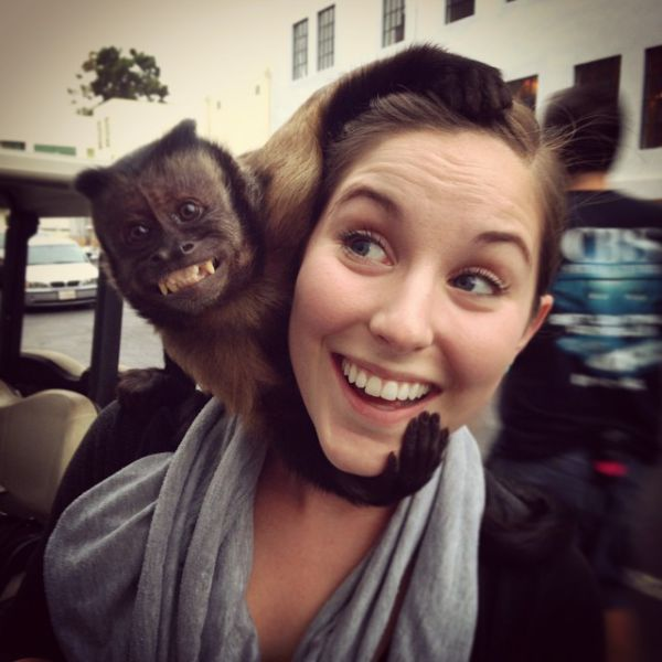 Monkey and a Woman Both Have a Great Smile.