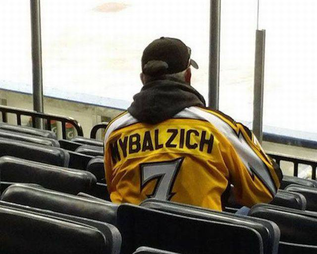 Mybalzich fan spotted at the ice hockey game.