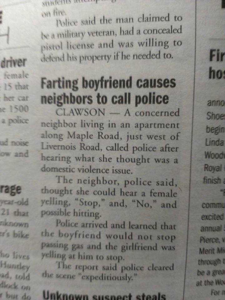 Farting boyfriend causes neighbors to call police.