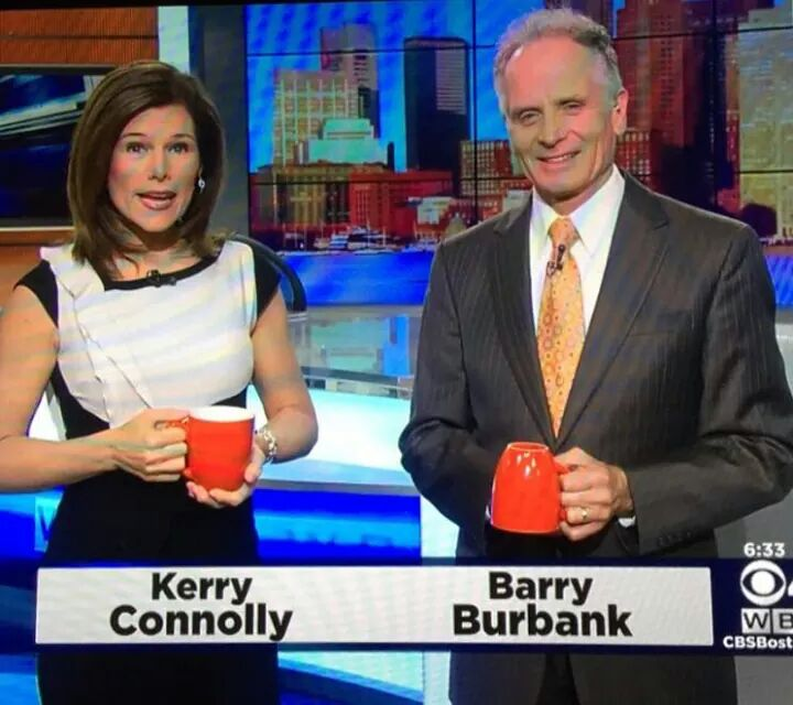 News Meteorologist Barry Burbank Holds His Cup Upside Down On The Air. Perhaps That Is A Sign There Is No Rain In The Forecast.