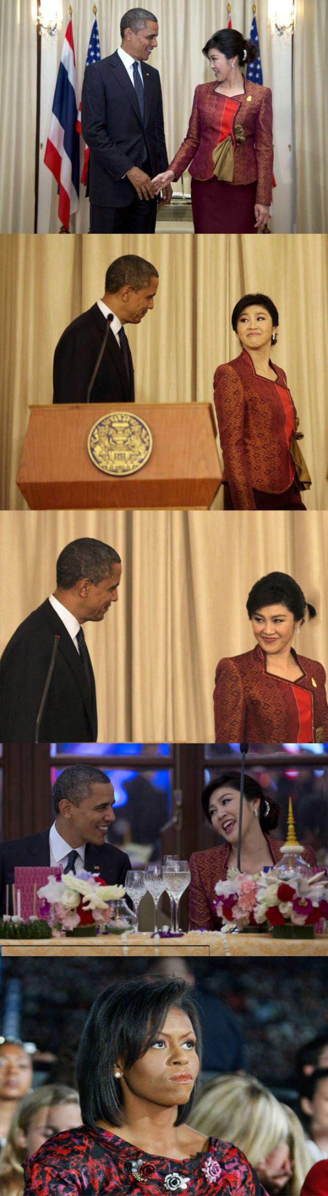 Obama flirts with the Thai Prime Minister and Michelle is pissed.