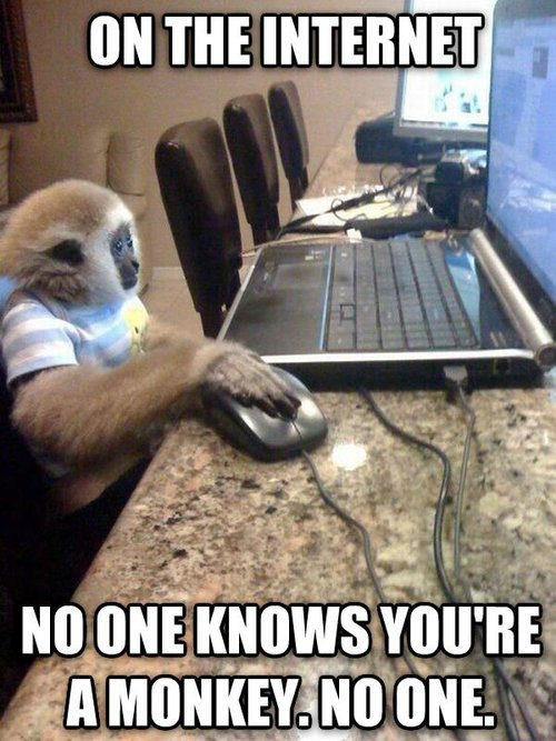 On the internet, no one knows you're a monkey.