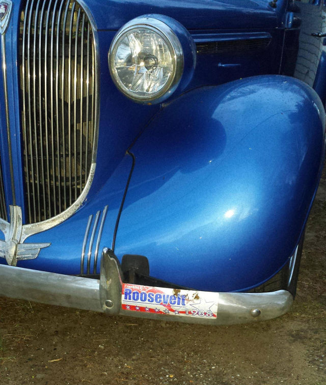 Original 1938 Roosevelt bumper sticker is proof this classic car is the real deal.