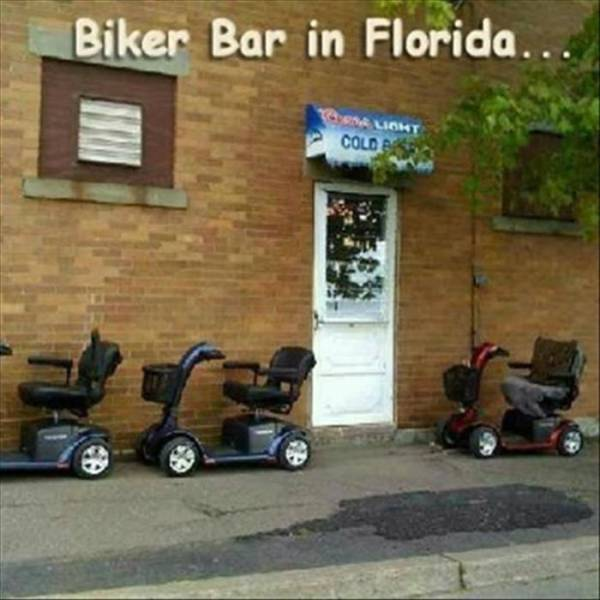 Outside view of a biker bar in Florida.