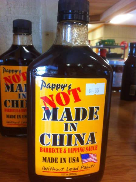 Pappy's 'Not Made in China' barbecue & dipping sauce without lead paint! Made in USA!