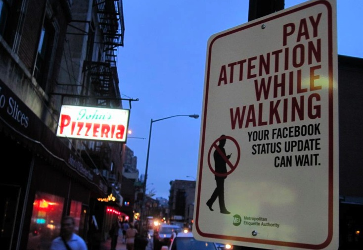 Pay Attention While Walking. Your Facebook Status Update Can Wait.