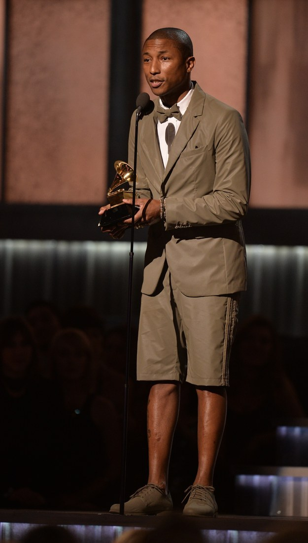 Pharrell Williams wears shorts to the 2015 Grammy Awards because it makes him Happy.