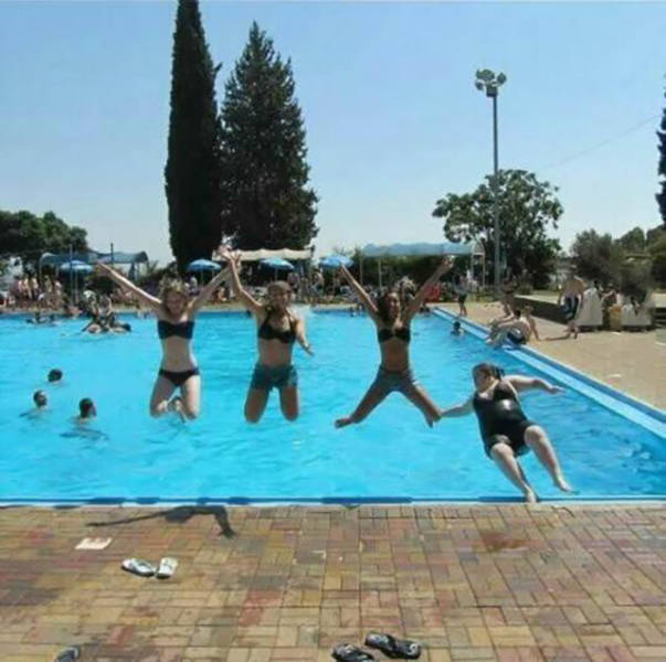 Pic of 4 girls jumping into a pool turned out better than expected.