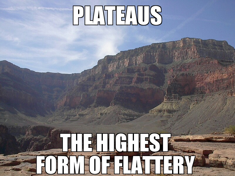 Plateaus are the highest form of flattery.