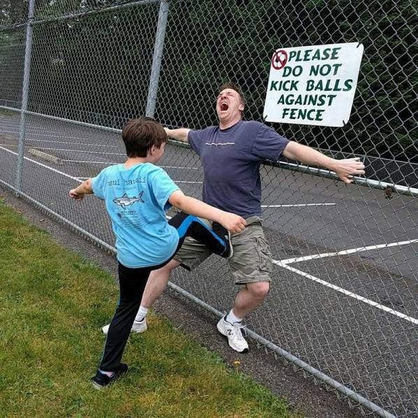 Please do not kick balls against fence.