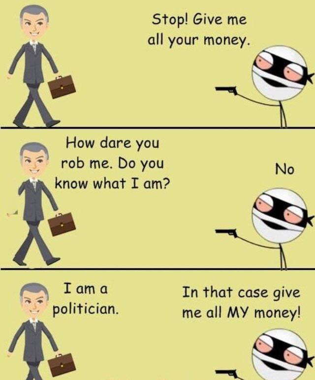 Politician gets robbed.