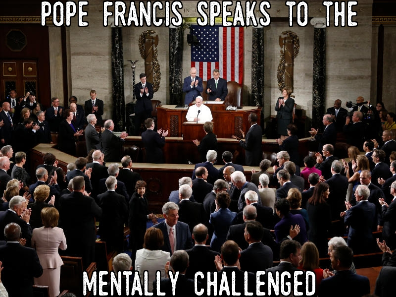 Pope Francis speaks to the mentally challenged.