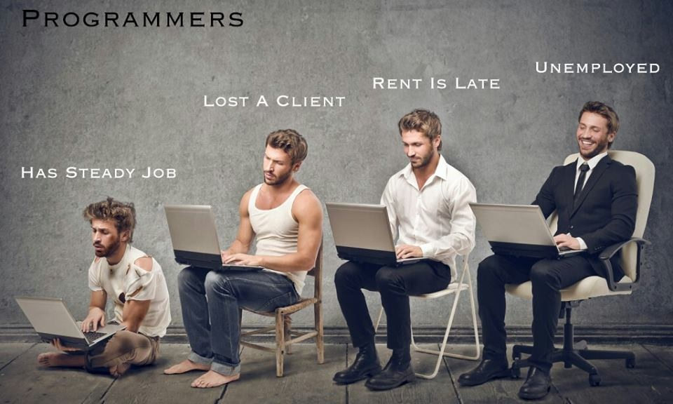 Programmers: The various stages of a computer programmers life.