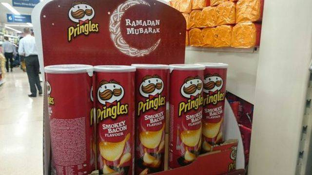Ramadan and smokey bacon flavored Pringles doesn't seem like a good selling point.
