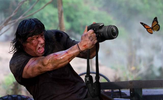 Rambo tries his hand at photography.